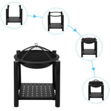 Four Feet Iron Brazier Wood Burning Fire Pit with a Shelf 22""