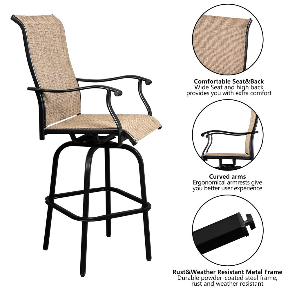Black Patio Swivel Bar Stools With Arms