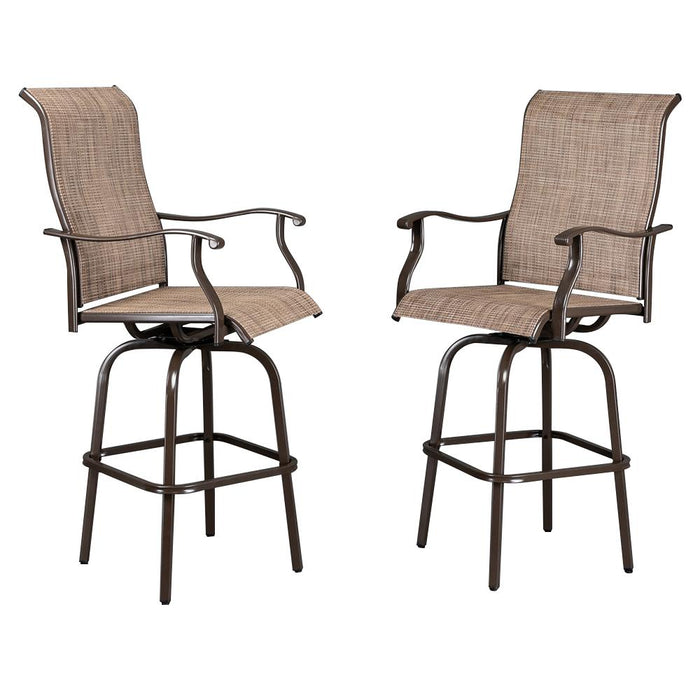 All-Weather Patio Brown Swivel Bar Stools With Arms