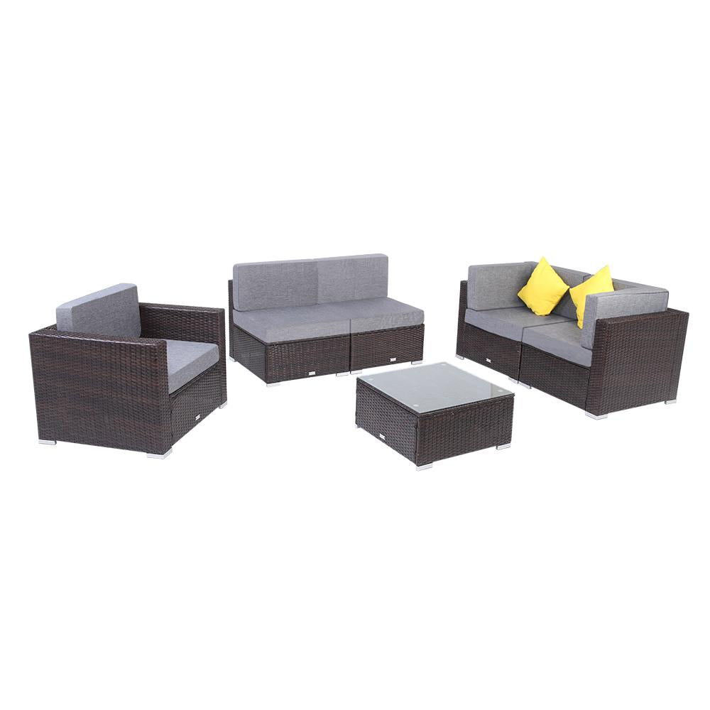 6 Pieces Patio PE Wicker Rattan Outdoor Sectional Sofa Set