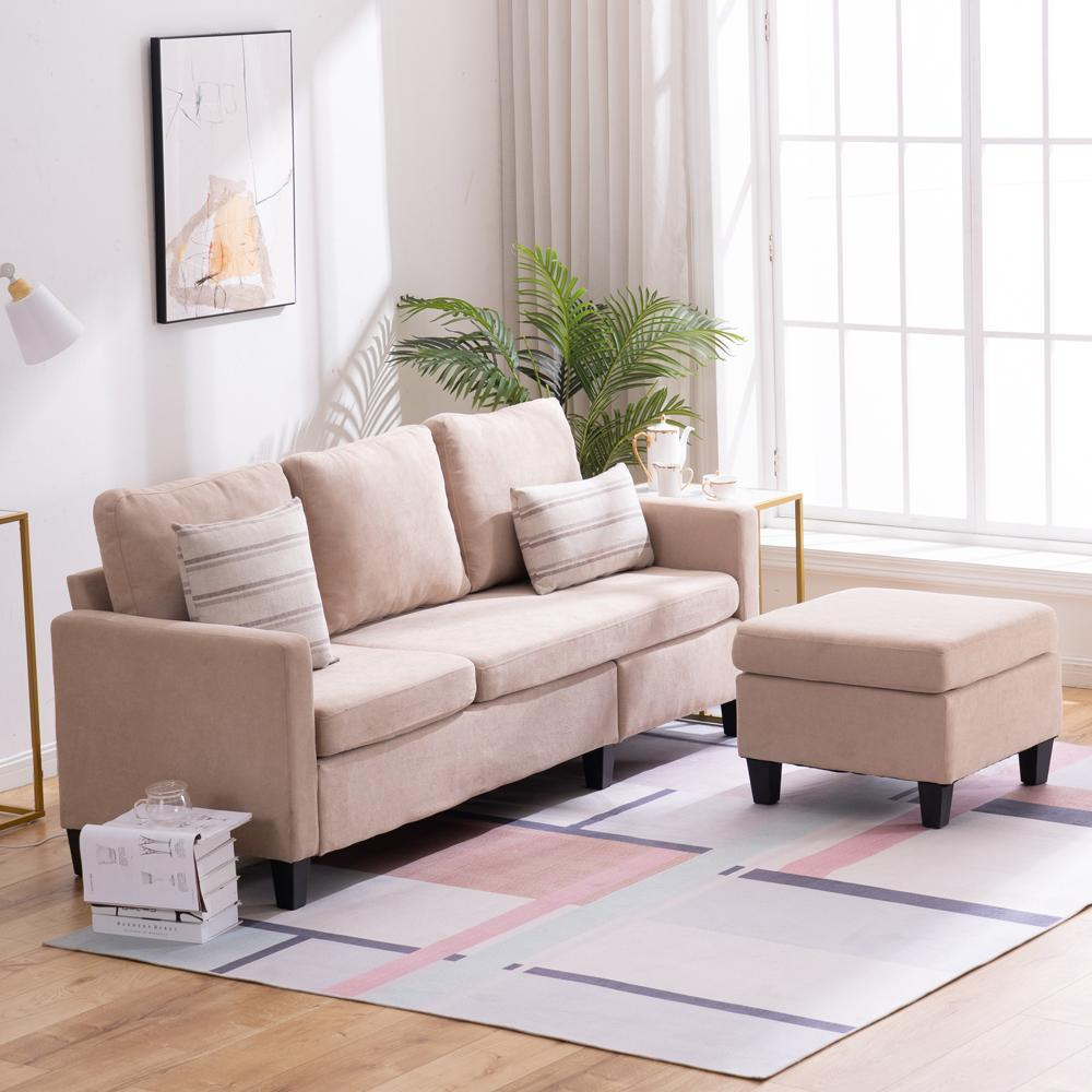 Beige Sectional Sofa with Reversible Chaise