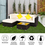 5 Pieces Patio PE Wicker Rattan Corner Sectional Sofa Set