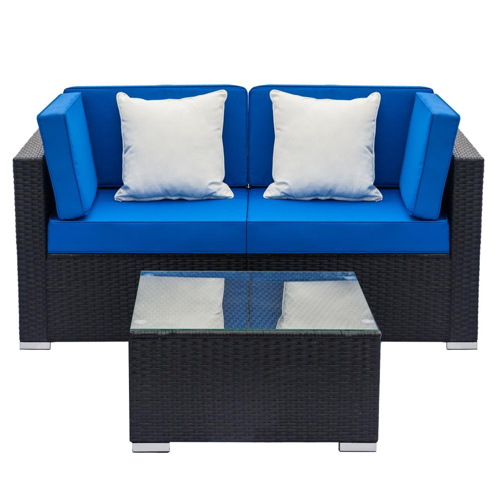 3-Piece Patio Wicker Outdoor Rattan Sectional Sofa Set - Blue