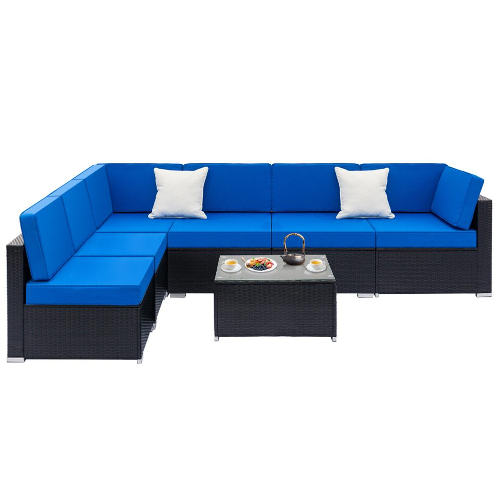 7-Piece Patio Wicker Outdoor Rattan Sectional Sofa Set - Blue