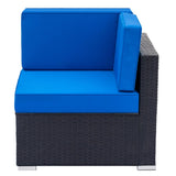 6-Piece Patio Wicker Outdoor Rattan Sectional Sofa Set - Blue
