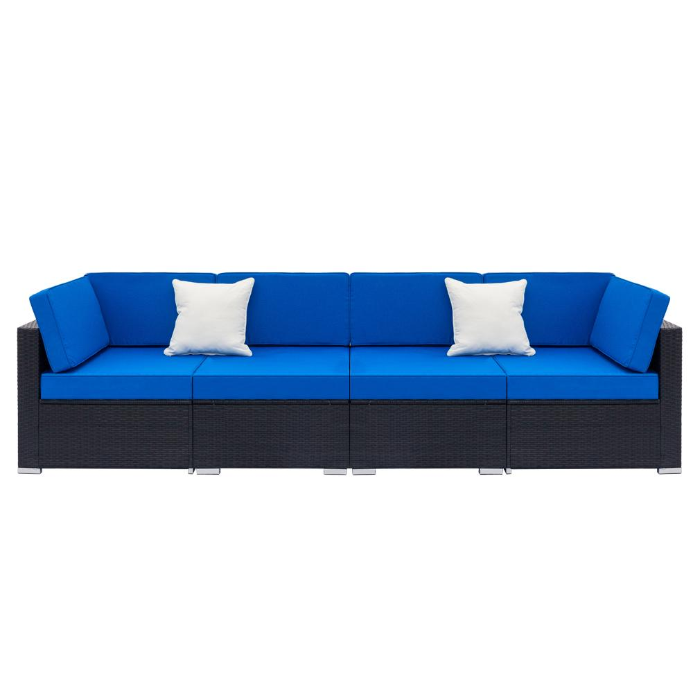 4-Piece Patio Wicker Outdoor Sectional Sofa Set - Blue
