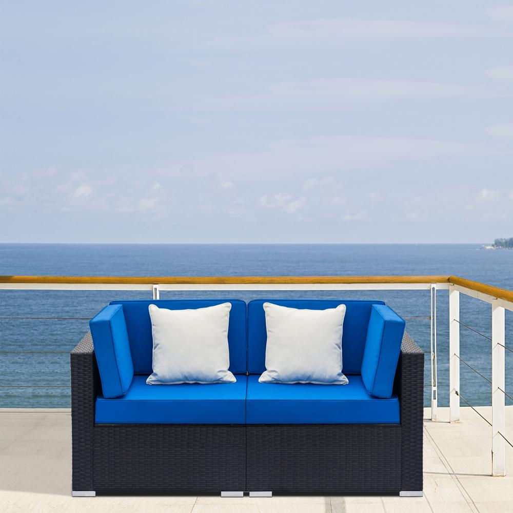 2-Piece Patio Wicker Outdoor Sectional Sofa Set - Blue