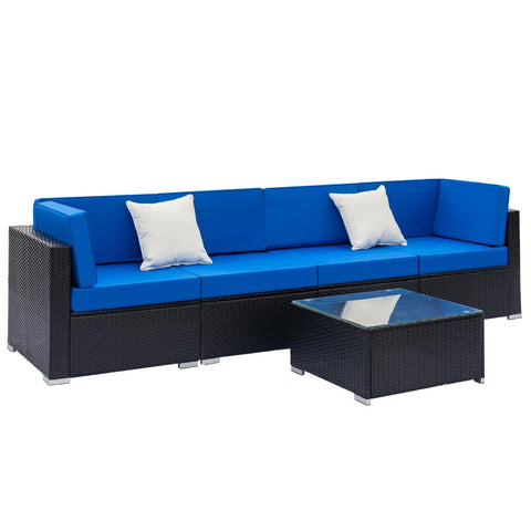 5-Piece Patio Wicker Outdoor Sectional Sofa Set - Blue