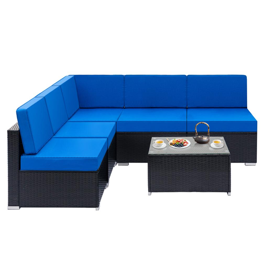 6-Piece Patio Wicker Outdoor Sectional Sofa Set - Blue
