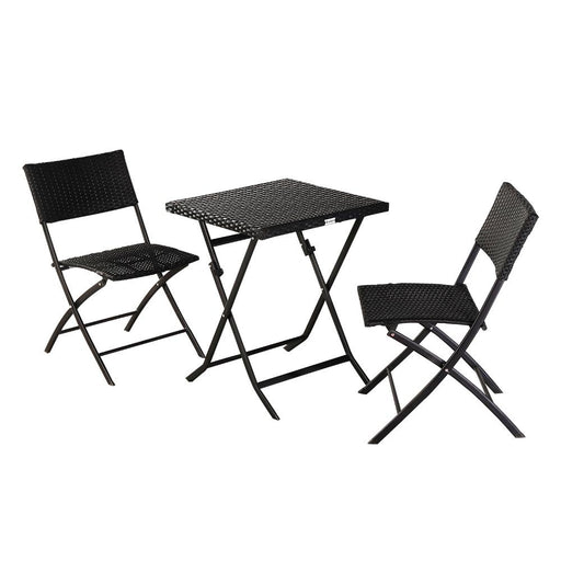 3 Piece Folding Wicker Patio Furniture Set with Side Table and Outdoor Chairs
