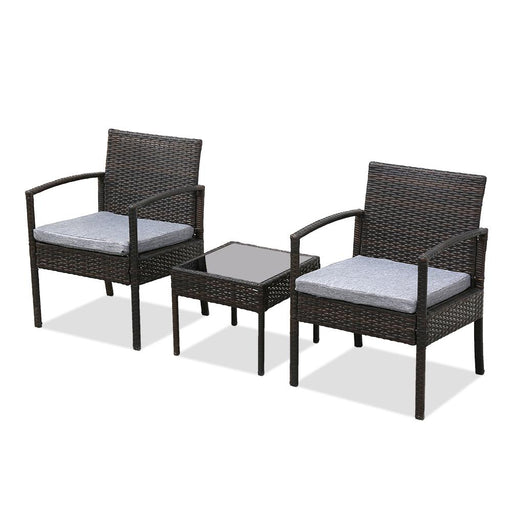 3 Piece Patio Furniture Set Wicker Rattan Outdoor Patio Conversation Set