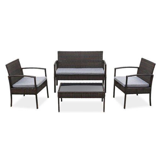 4 PCS Outdoor Patio Rattan Wicker Furniture Conversation Set