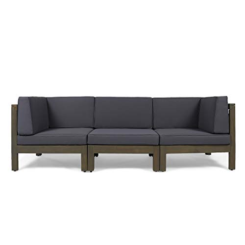 Great Deal Furniture Keith Outdoor Sectional Sofa Set | 3-Seater | Acacia Wood | Water-Resistant Cushions | Gray and Dark Gray