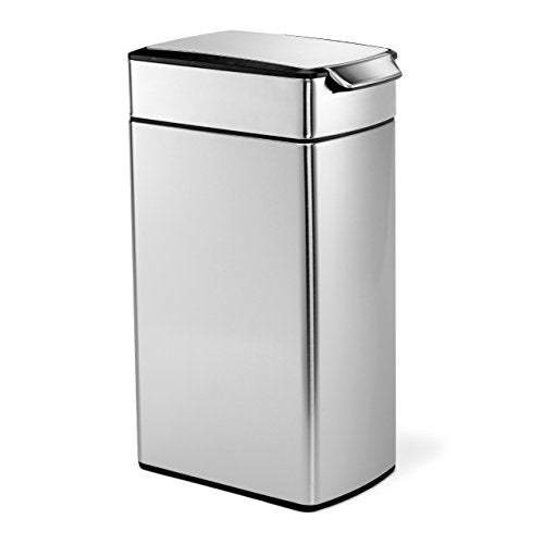 simplehuman 40 Liter / 10.6 Gallon Stainless Steel Slim Touch-Bar Kitchen Trash Can, Brushed Stainless Steel