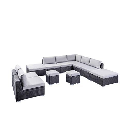 Tammy Rosa Outdoor 7 Seater Wicker Sofa Sectional Set with Aluminum Frame and Cushions, Grey and Silver