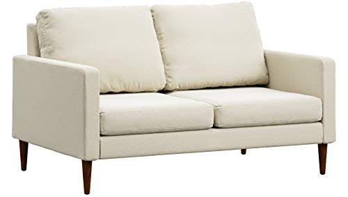 Campaign Steel Frame Brushed Weave Loveseat, 61 Inches, Almond White with Mahogany Stained Solid Oak Legs
