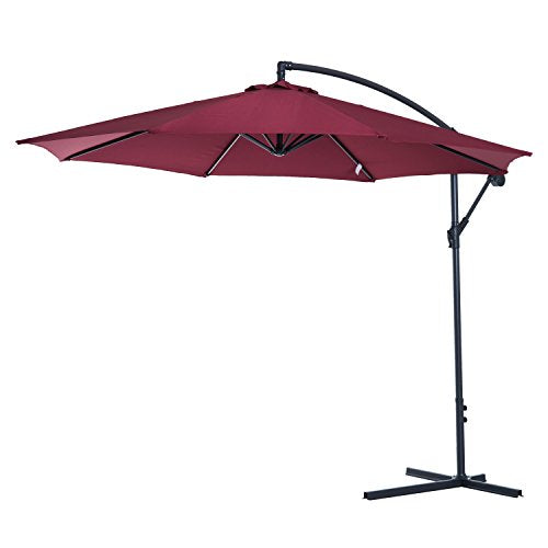 Outsunny 10' Steel Hanging Offset Patio Umbrella with Stand - Wine Red