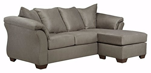 Ashley Furniture Signature Design - Darcy Contemporary Microfiber Sofa Chaise - Cobblestone