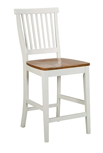 "Americana White & Distressed Oak bar Stool, 24"", by Home Styles"