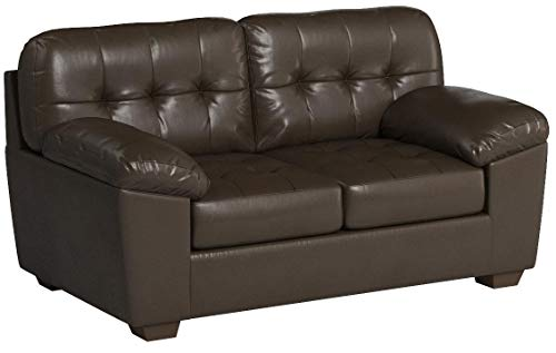 Ashley Furniture Signature Design - Alliston Contemporary Upholstered Loveseat - Chocolate