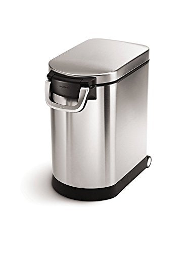 simplehuman 25 Liter, 27lb / 12.2 kg Medium Pet Food Storage Can, Brushed Stainless Steel