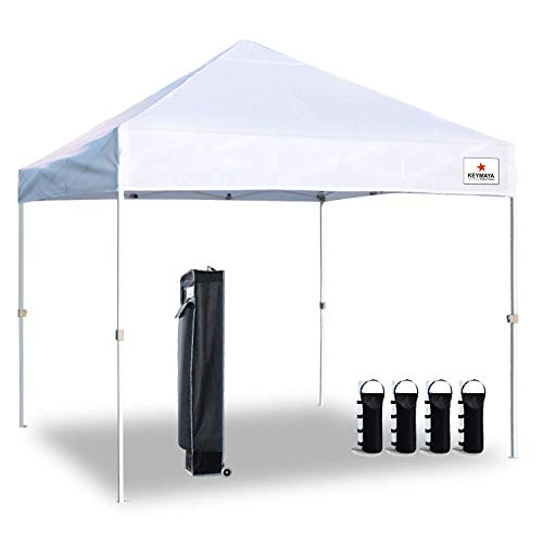 Keymaya 10'x10' Ez Pop-up Canopy Tent Commercial Instant Shelter Bonus Weight Bag 4-pc Pack, 10x10, A1# White