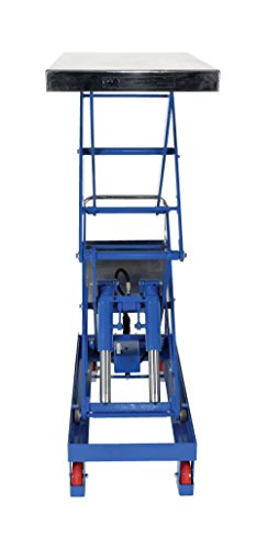 "Vestil CART-1500-D-TS Steel Double Scissor Cart, Foot-Actuated, 2 Speed Hydraulic Pump, 1500 lb. Capacity, 40"" x 24"" Platform, Height Range 19"" to 68"", Blue"