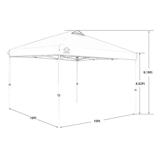 CROWN SHADES Patented 10ft x 10ft Outdoor Pop up Portable Shade Instant Folding Canopy with Carry Bag, Black