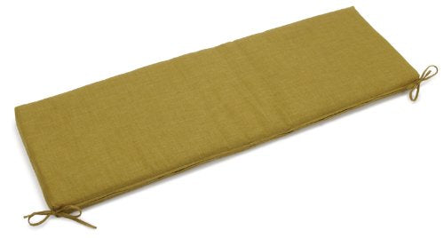 Blazing Needles Outdoor Spun Poly 19-Inch by 60-Inch by 3-1/2-Inch 3-Seater Bench Cushion, Avocado Green