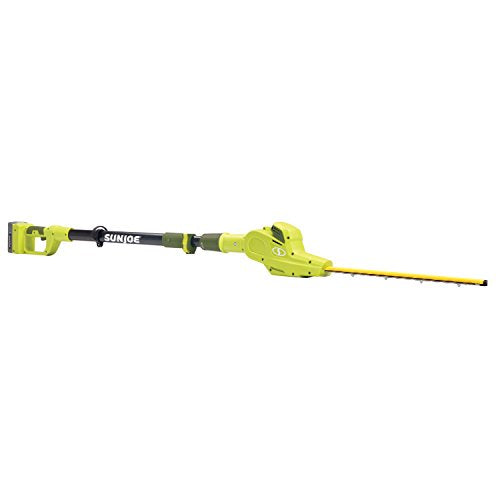 Sun Joe 20VIONLTE-PHT17 Cordless Telescoping Pole Hedge Trimmer, Green