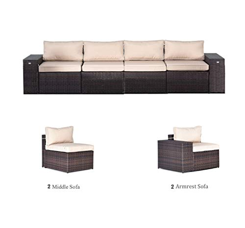 Gotland 4-Piece Outdoor Furniture Sectional Sofa & Glass Coffee Table(2 Wide Armrest Sofas & 2 Middle Sofas)