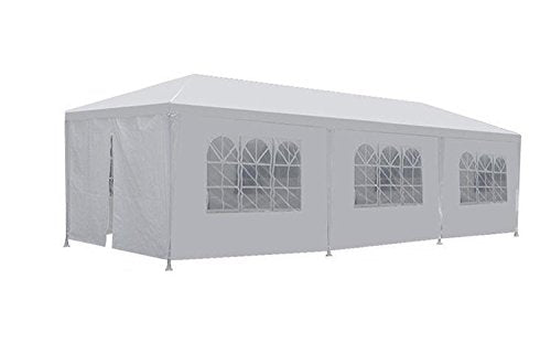 FDW PT-1030-8-White 10'x30' White Outdoor Gazebo Canopy Wedding Party Tent 8 Removabl