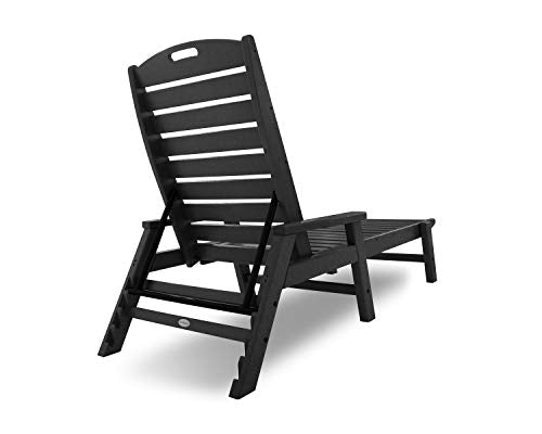 POLYWOOD NCC2280MA-P Nautical Arms Chaise, Black