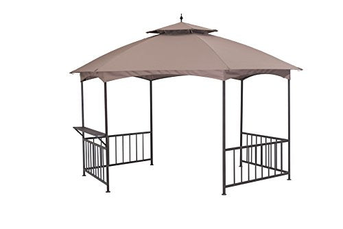 Sunjoy 11.4'X 13.2' Madison Pavilion Hex Shape Soft Top Gazebo with Serving Shelf