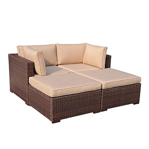 Patiorama 4PC Outdoor Conversation Set All Weather Wicker Patio Sectional Sofa Bed Set with Loveseat Sofa Chair Ottoman Table, Beige