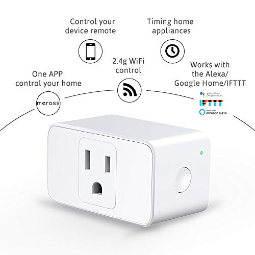 Meross WiFi Smart Plug Mini, 16 Amp & Reliable Wifi Connection Powered by Mediatek Chipset, Alexa and Google Voice Control, App Remote Control, Timer, Occupies Only One Socket, No Hub Needed, 4 Pack
