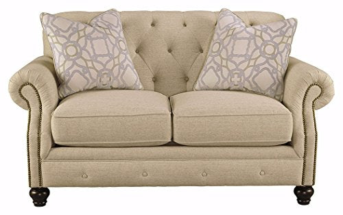 Ashley Furniture Signature Design - Kieran Traditional Upholstered Loveseat - Natural Tan