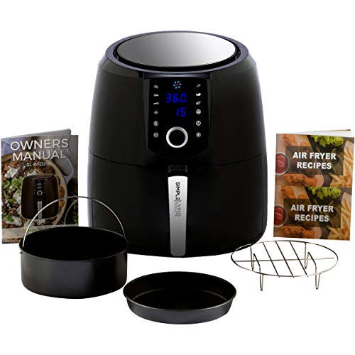 Simple Living XL 5.8qt Hot Digital Air Fryer. 3 Air Fryer Accessories, Recipe Book, 8 Cooking Presets & Keep Warm Function (XL Air Fryers)