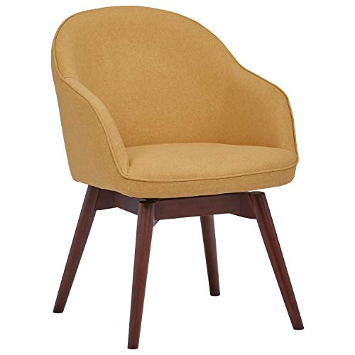 Rivet Vern Contemporary Round Dining Table Chair  - 23 x 24 x 32 Inches, Canary Yellow