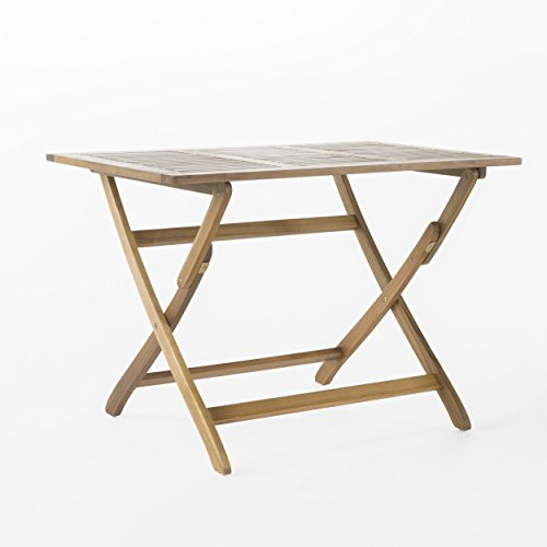 St. Nevis | Acacia Wood Outdoor Foldable Dining Table | Perfect For Patio | with Natural Finish