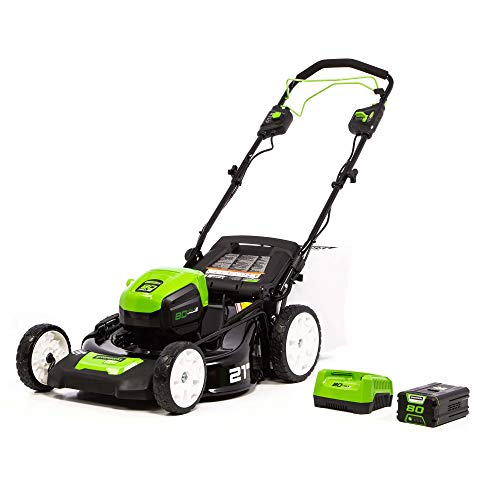 Greenworks PRO 21-Inch 80V Self-Propelled Cordless Lawn Mower, 5.0 AH Battery Included MO80L510