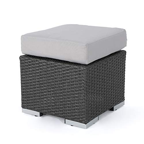 Great Deal Furniture Malibu Outdoor 16 Inch Grey Wicker Ottoman Seat with Silver Water Resistant Cushion