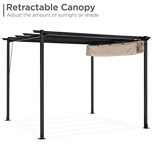 Best Choice Products 10x10ft Patio Weather-Resistant Pergola Shelter w/Retractable Sun Shade Canopy, Steel Frame