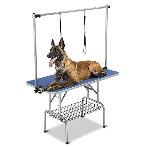 "Yaheetech Pet Grooming Table for Large Dogs Adjustable Height - Portable Trimming Table Drying Table w/Arm/Noose/Mesh Tray Maximum Capacity Up to 331Lb Blue 47""x 24"""