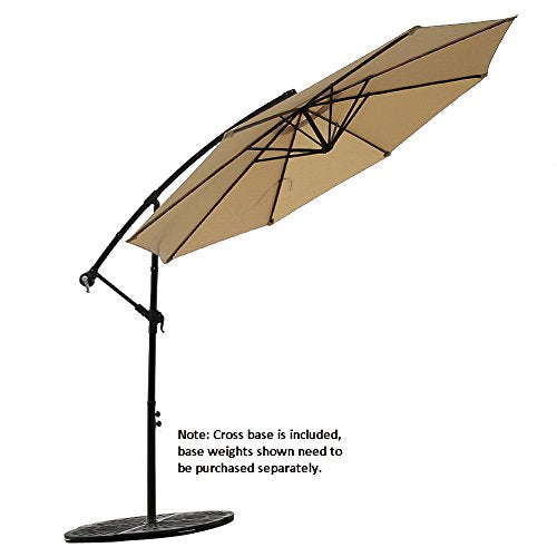 FLAME&SHADE 10' Offset Cantilever Hanging Patio Umbrella Large Market Style for Outdoor Balcony Table or Large Garden Terrace, Beige