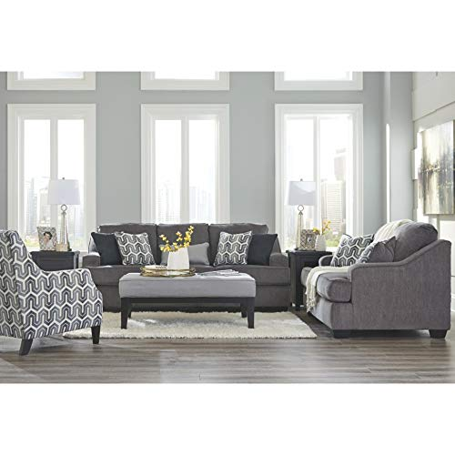 Ashley Furniture Signature Design - Gilmer Chenille Upholstered Loveseat w/Accent Pillows - Contemporary - Gunmetal