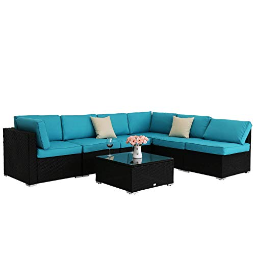 Outdoor Wicker Furniture Sectional Sofa, 7 PC Rattan Patio Seating with Turquoise Cushions & Free Sofa Clips