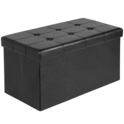 "AuAg  30"" Folding Storage Ottoman Bench Faux Leather Toy Box/Chest Window Padded Seat Foot Rest Storage Easy to Assemble (Black, 30"")"