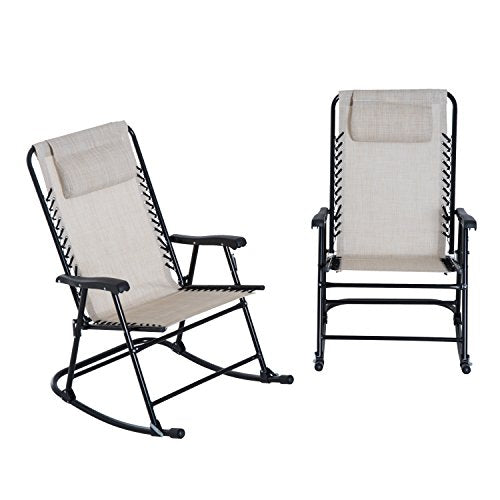 Outsunny Mesh Outdoor Patio Folding Rocking Chair Set - Cream White