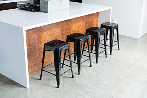 UrbanMod 24 Inch Kitchen Counter Height, Indoor, Outdoor and More Metal Bar Stools, Set of 4, Black